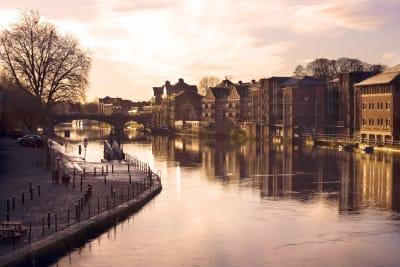 York at dusk river