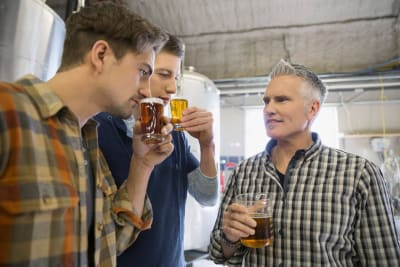 Men on a stag weekend beer tasting