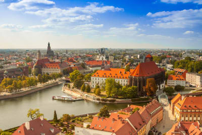 Wroclaw city scape in sunny weather