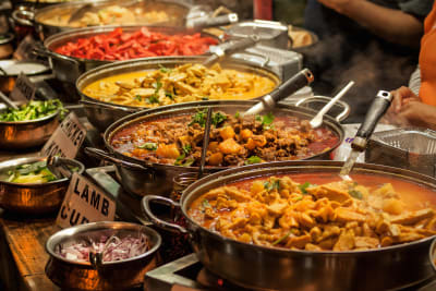 A selection of curry dishes at Tikka Flame restaurant