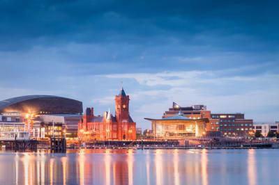 twilight shot of Cardiff