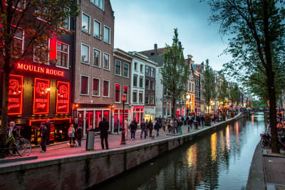 Amsterdam canal showing nightlife in the evening