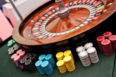 Casino table roulette wheel