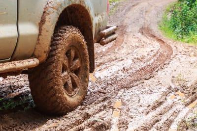 Muddy 4x4 vehicle