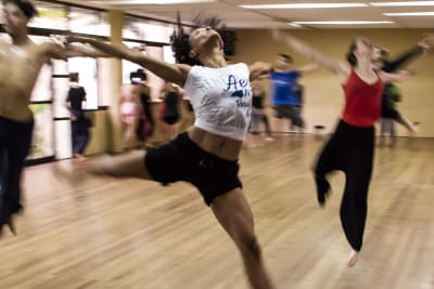 A group of women learn some moves to a Beyonce track