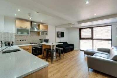 The Print Works Apartments Liverpool Kitchen Dining Area Sofa TV