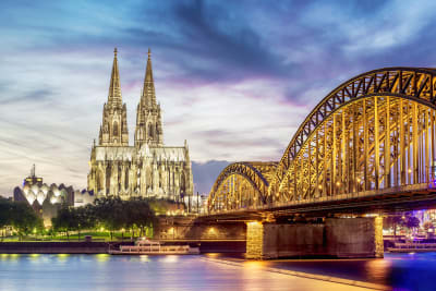 Bridge in Cologne city centre with cathedral