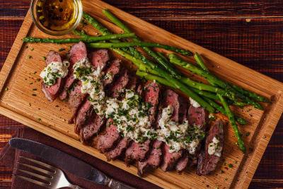 A steak dinner