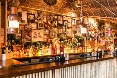 A tiki themed cocktail bar