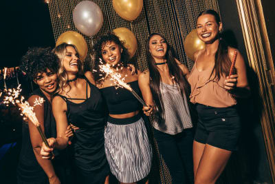 group of women in nightclub VIP theme