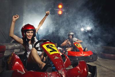 Women doing go karting