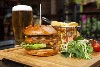 DTWO burger and a pint