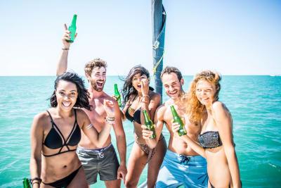 friends drinking on boat