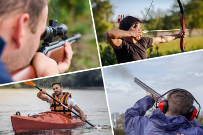 Multi activity day Air Rifle Shooting Clay Pigeon Shooting - 30 Clays High Ropes Quad Biking Kayakin