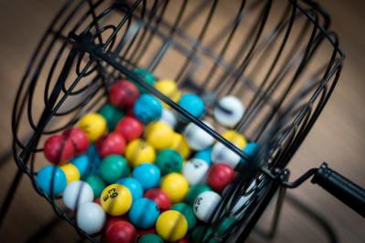 Bingo Balls and Table Stand