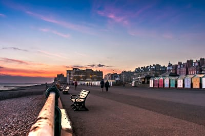 Sunset at Brighton beach with colourful beach houses
