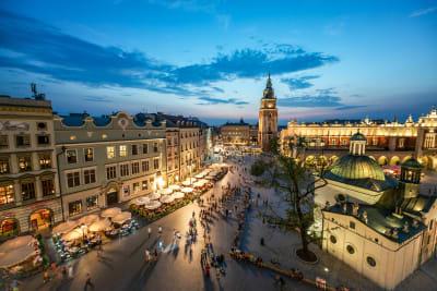 Krakow city centre at night