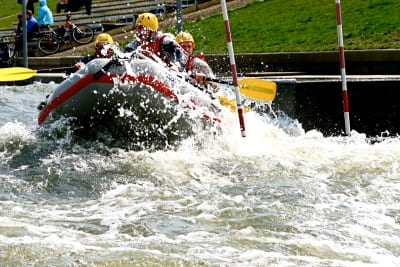 A stag group having fun rafting