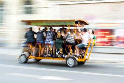 A beer bike driving through Berlin