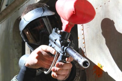 A man playing paintball