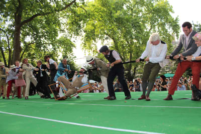 quintessentially English tea party tug of war