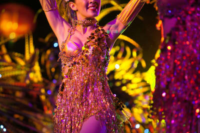 a woman performs a cabaret act