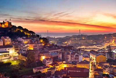 Lisbon skyline by night
