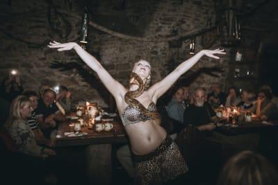 Prague The Spider Tavern Medieval Dancer with snake