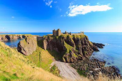 A view of Dunnottar castle in Aberdeen