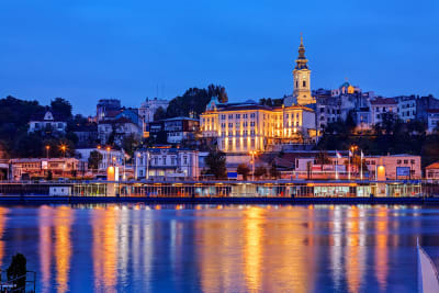 City shot of Belgrade at night