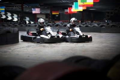 karting track with karts racing