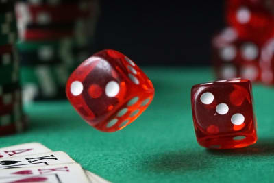 casino cards dice and poker chips