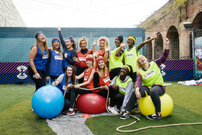 A happy hen party playing old school sports day games