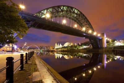 The railway bridge over Newcastle at dusk