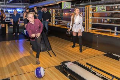 Bowling Group Playing Roxy Lanes