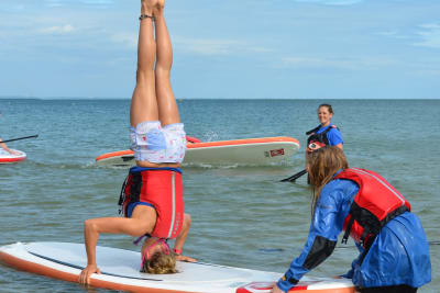 A hen party doing standup paddleboarding