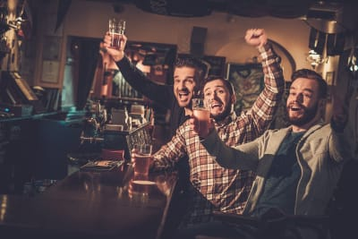 Men cheering whilst drinking beer in pub