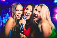 Hens singing karaoke