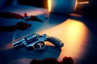 Crime Scene Gun Mystery Murder Stock