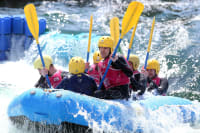 A stag group doing white water rafting