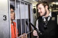 Trapped In A Prison Van prisoner and officer