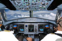 flight simulation cockpit on plane with pilots