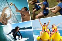 volley ball, surfing, tug of war and banana boating multi image choice