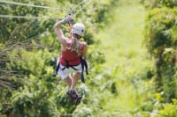 women on zip line