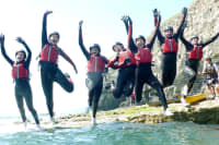 Corporate Event, Cliff Jumping, Happy Group, Team Building