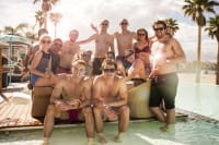 group of guys at a beach club