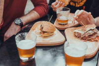 Burger meals with beer