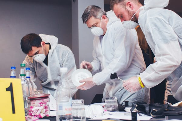 Men working on crime scene investigation