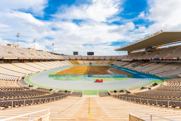 *EDITORIAL USE*  Interior view of the Olympic Stadium Lluis Companys in park Montjuic, Barcelona