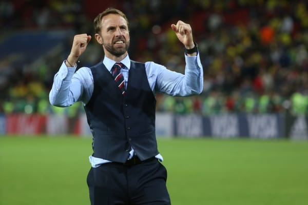 Gareth Southgate celebrates victory at end of the Round-16 Fifa World Cup Russia